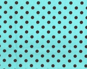 Michael Miller Fabric by the Yard - Dumb Dot in Aqua Brown