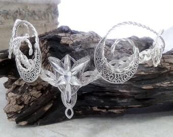 ON SALE Elvenstar Crescent Moon Circlet Celtic Goddess Crystal Crown Elven Headdress Tiara