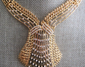 Statement necklace. gold and crystal necklace,wedding necklace