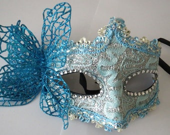 Delicate blue party Mask