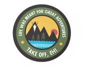 "Take off eh Canadiana adventure quote 2"" vinyl decal - illustrated mountain sunset by the Nemophilist"