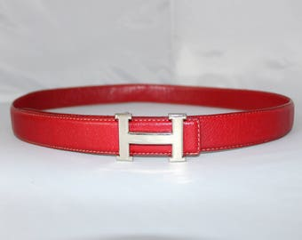 Red Leather Belt - Womens Red Belt - H Belt - Shiny Silver Buckle- Monogram H Buckle - Letter H Buckle - Initial H Buckle - 36 37 38 39 40