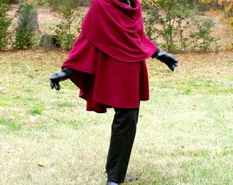 Burgundy Anti Pill Fleece Wrap, Shawl, Shrug, Cape or Blanket Scarf--Lightweight Warmth--One Size Fits Many