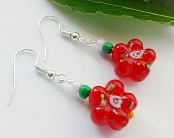 Red Earrings, Red Flower Earrings, Red Glass Earrings, Red Dangle Earrings, Drop Earrings, Red Bead Earrings, Gift For Mum, Christmas Gift,