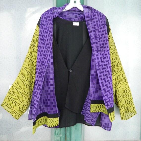 Kavita 100% Silk Artwear Jacket and Scarf Set -S- Black-Purple-Lime