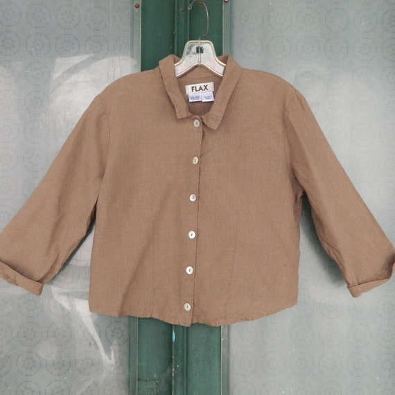 FLAX Engelheart 3/4 Sleeve Blouse -P/XS- Mocha Linen