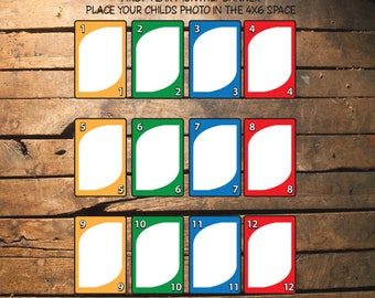 UNO Card First Year Monthly PHOTO Banner- Printable - Digital Download