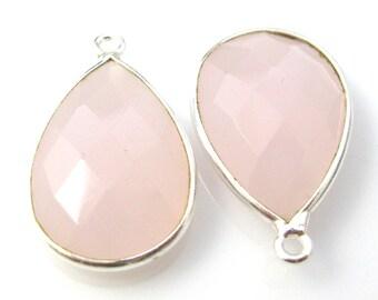 Bezel Gemstone Pendant, Charm - Sterling Silver-Faceted Teardrop Shape -Pink Chalcedony-22mm (2 pcs) - SKU: 201110-PCH