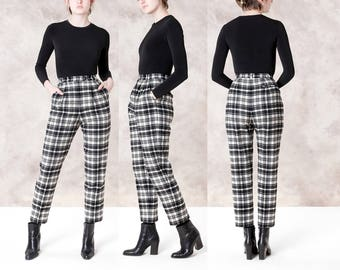 HIGH WAIST PLAID wool pants penguin Munsingwear slim fit skinny trousers slacks / size / waist / better Stay together