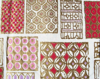Vintage CHRISTMAS Fabric Gold Printed SCRAPBOOKING