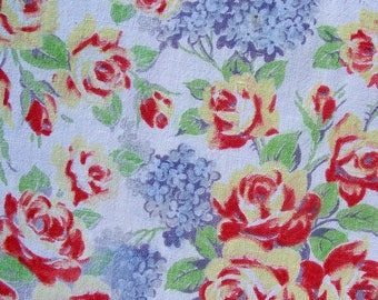 Vintage Cotton Table Topper  Roses 50s 35 inch square Blue