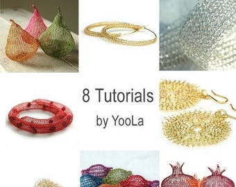 On SALE 20% - 8 Crochet Wire Jewelry Patterns in PDF -  ring, sunflowers, hoops, necklace, pomegranates, pears, beads,bracelet,