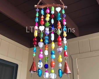 Wind Chime with Jewel Toned Beads, Bells, on Mesquite Wood, Gift, Suncatcher