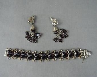 Vintage Barclay Bracelet & Earrings Set, Red Glass Hearts, AS IS, finish worn