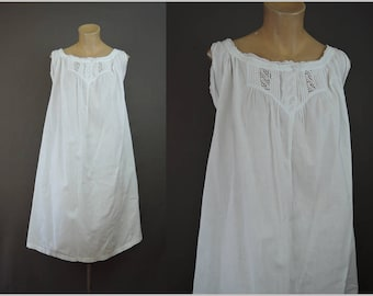 Vintage White Cotton Nightgown 36 bust, shortened, Lace Trim, early 1900s Antique Lingerie