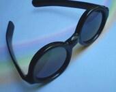 Vintage 60s Mod Round Black Sunglasses Italy