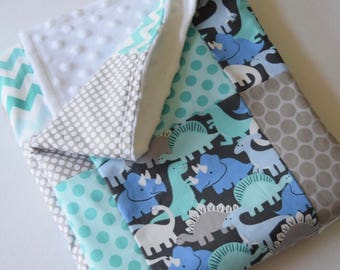 Prehistoric Pals Dinosaur Patchwork Baby Quilted Blanket - Polka Dots, Aqua, Gray, Baby Nursery, Photography Prop