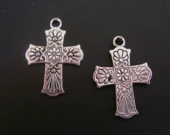 Floral Stamped Silver Tone Cross Charm - Low Shipping