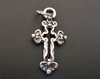 Intriguing Silver Cross Charm - Low Shipping