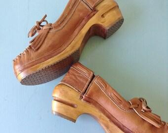Dead Stock Rosane Leather Clogs | 1970s