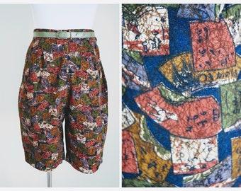 Vintage 1950s Batik Shorts | 50s High Waisted Shorts