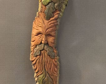 HAND CARVED original Green Man with Oak leaves, almost 2 foot long from 100 year old Cottonwood Bark