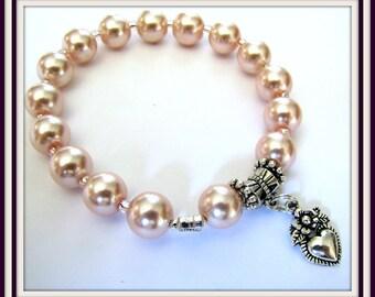 Pink Pearl Stretch Bracelet, Pink Bracelet, Heart Stretch Bracelet Beaded bracelet, fits 6  1/2 to 7 inch wrist, Body Jewelry, #1239