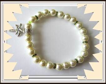 Yellow Pearl Stretch Bracelet, Yellow faux Pearls, Yellow Bracelet fits 6 1/2 to 7  inch wrist, Body Jewelry, Beaded Bracelet, Item # 1238