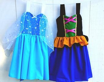 Elsa dress, Anna dress,  princess  dress,  Frozen dress,  birthday party dress, vacation princess dresses, comfortable princess dresses