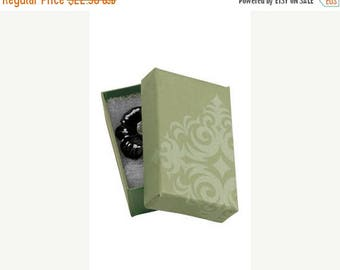 Summer Sale 50 Pack of 2.5X1.5X7/8 Inch Size High Quality Sage Damask Cotton Filled Jewelry Presentation Boxes