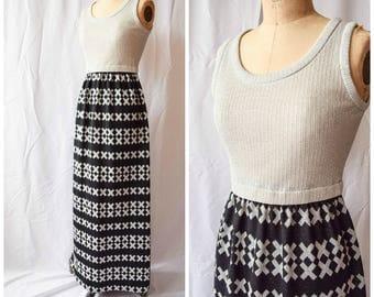 Vintage 1970's Vicky Vaughn Maxi Dress | The Kisses Dress | Silver Metallic Knit Tank Bodice Black Skirt Silver X Op Art Print Size S