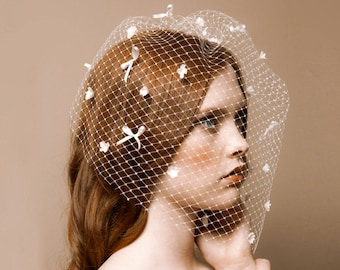 Bridal birdcage blusher veil, French net, blossom dotted - Vivian No. 2227