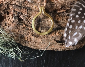Hammered Circle Brass Layering Necklace 22 inch