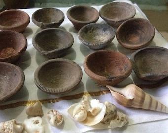 12 Old Earthen Diyas for Diwali
