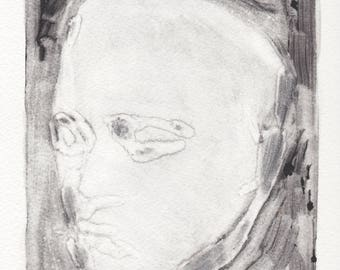 monotype print, black and white prints, figurative art, beethoven's death mask by Michelle Farro