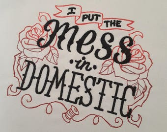 Mess In Domestic - Crafting Themed Embroidered Tote Bag - knitting-crochet- needlearts