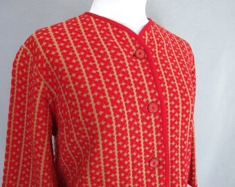 Red Boxy Jacket, Vintage 1970's Cropped Knit Jacket, Size 12-14, Medium to Large