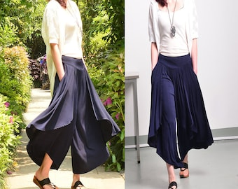 Free Shipping SALE - Moon Water - pleated skirt pants / wide leg pants / layering pants (K1661)