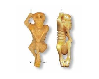 1 Hand-Carved Hanging Skeleton Bead (45mm) - Last One