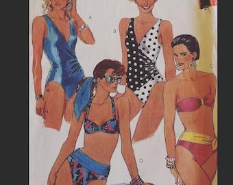 Vintage 80s  Strapless Asymmetrical French Cut One Piece Bikini Plus Size Swimsuit Bathing Suit Swim Suit Sewing  4321