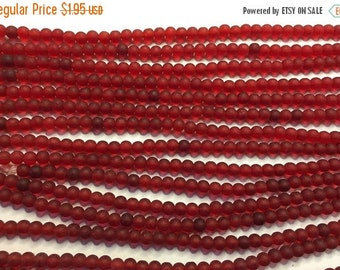 ON SALE Cultured Sea Glass Beads 48 Cherry Red 4mm Round Beads