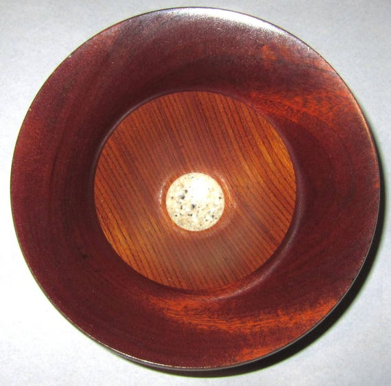 "Solid and Segmented Wood Turned Bowl – ""Flow 9"" – Solid and Laminated Mahogany with Corian"