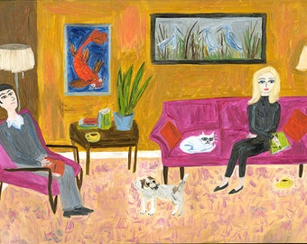 Nigel and Fern on a rainy Sunday afternoon. Limited edition print by Vivienne Strauss.