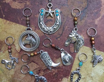 Horse & Rider: Super Set of 9 Stitch Markers for the Equestrian Crafter