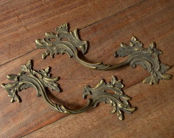 Pair of large French vintage drawer pulls