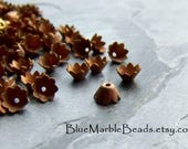 Floral Bead Caps, Layering Beads, Tiny Bead Caps, Flower Bead Cap, Vintage Finding, Brass Finding, 5mm, 30 Beads