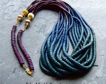 Ombre Bead, Peacock, Boho Beads, Multicolored Necklace, Tye Dye, Colored Wooden Bead, Heishi Bead, Finished Necklace, Multi Strand Necklace