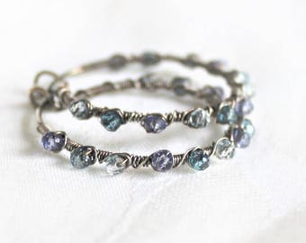 Wire Wrap Blue Gemstone Sterling Silver Hoops