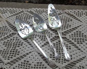 3 Vintage Silver Plate Cake Servers Silver Pie Servers Wedding Flatware French Country Entertaining Wedding Decorations Table Decor