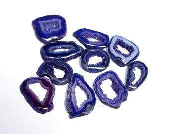 10 Pcs Purple Druzy Agate Geode Slices / Agate Slice / Agate Druzy Slice Beads 27x17 - 17x16mm PDS08